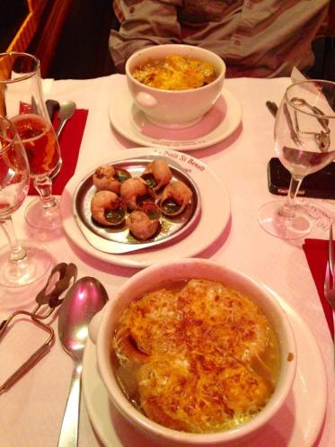Dinner the first night -n escargot and french onion soup