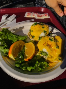 Crab eggs benedict at Boudin