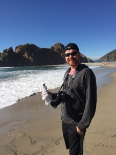 Paul enjoying a beer at Pfeiffer Beach